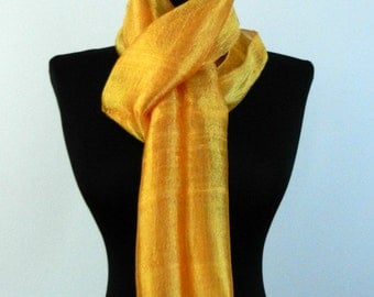 """100 % Thai Raw Natural Pure Silk Scarf 12x62"""" Handmade Fair Trade in Yellow Gold R41"""