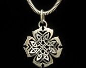Designer Celtic Sterling Cross Pendant Dense, Heavy, Elaborate Signed