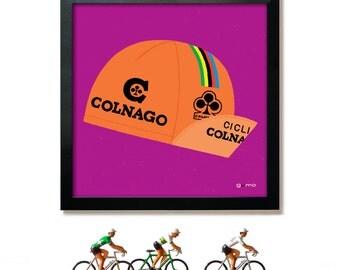 Bike Art, Cycling Print, Colnago Cap