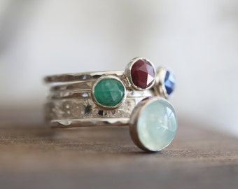 lodestar |  Birthstone Stack . Sterling Silver Gemstone Stack ring. Available Jan - Dec . One ring