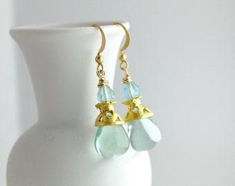Aqua Glass Earrings, Gold Earrings, Arabesque Earrings, Glass Drop Earrings, Glass Dangle Earrings, Boho Glass Earrings, Gold Boho Earrings