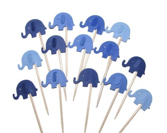 24 Elephants in Shades of Blue- Party Picks, Cupcake Toppers, Food Picks