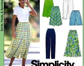 Simplicity Pattern 7655 Misses' Skirts in 3 Lengths, Pants, Capri's and Shorts Sizes XS-M: 6-16 NEW