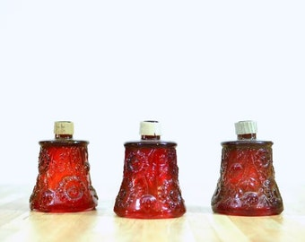 Vintage Red Glass Votive Holders Replacement Sconce Globes:  Set of 3