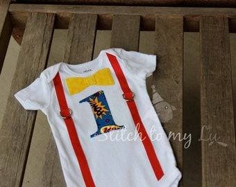 """First Birthday Shirt Bodysuit Super Hero Red Blue Yellow Boom Pow Super Man Little Man Primary Colors Baby Boy """"1"""""""