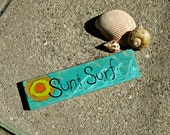 Sun and Surf wooden beach sign