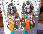 RESERVED TO E. Audrey Hepburn Resin Chandelier Earrings - Summer Trends - Colorful - Mask Charm - Breakfast At Tiffany's - Movie Star