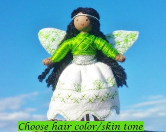 Fairy Doll - Waldorf Fairy - Black Fairy Doll - Bendy Doll - African American doll - Fairy Garden -  Green Embroidered