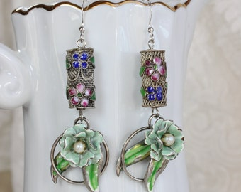 Mint to Be- Upcycled Vintage Collage Earrings- Mint Green Enamel, Cloisonne, Sterling Silver- One of a Kind by Karen Graham
