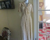 Vintage 50s Floral Cherry Dress / Size Medium Large Dress / Attached Scarf Tie Dress