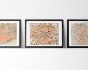 SALE This selection of Three A3 sized posters ONLY 30 dollars, art offer, Art set of 3, Maps Wall art SET009