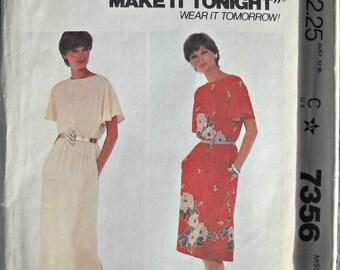 McCall's 7356 Dress Pattern, Sizes 10, 12, Vintage 1980