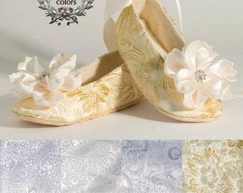 Gold Toddler Ballet Slippers, Gold Baby Shoe, Flower Girl Shoe, Silver, Ivory, White, Little Girls Wedding Shoe, Ballet Slipper, Baby Souls