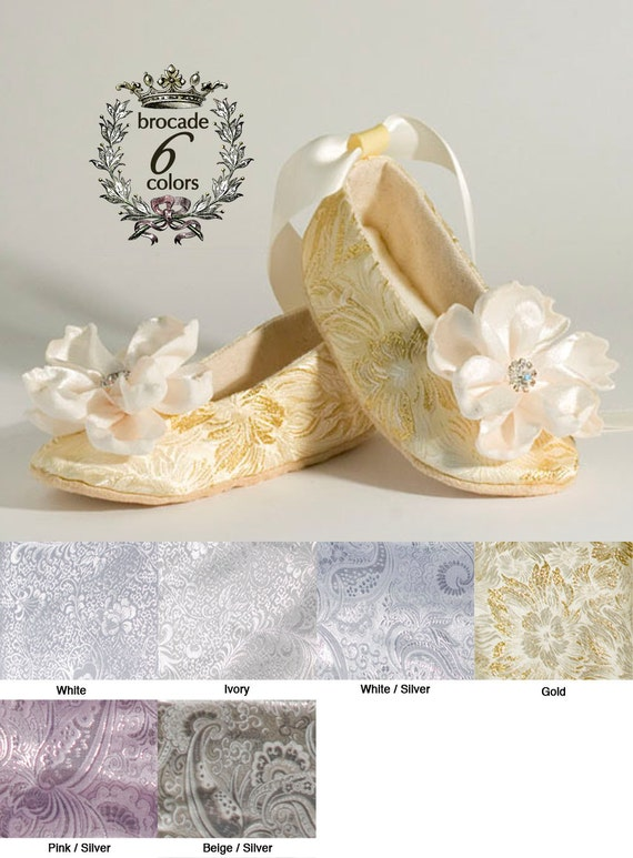 Gold Toddler Ballet Slippers, Gold Baby Shoe, Flower Girl Shoe, Silver, Ivory, White, Little Girls Wedding Shoe, Ballet Slipper, Baby Souls