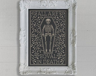 PDF All Are Equal in Death Halloween cross stitch pattern by Dark Crosses at thecottageneedle.com tombstone skeleton October embroidery