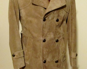 Vintage MAC MOR of CANADA Mens Suede Leather Coat, Winter Coat, Dress Coat, 3 Season Overcoat, Size 40, Removable Lining, Belted