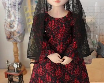 Regency Dress and Black Lace Shawl for 16 Inch Doll, MC12