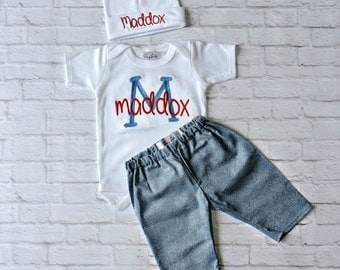Personalized Baby Boy Clothes NewbornBoy take home outfiit & Toddler Boy Outffit Bodysuit Shirt Hat and Pants options Personalized Baby Gift