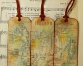 Iceland Historical Map Bookmarks for Men Set of 3 Island of Iceland Gifts for Men Circa 1893 Old Map Bookmark Gifts for Map Collectors