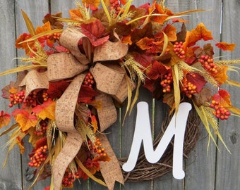 Fall Wreath for Door, Wreath for Fall, Wreath with Letter, Artificial Leaves Wreath, Wheat Berry Leaf Wreath, Thanksgiving Halloween Decor