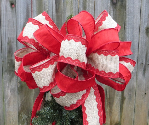Christmas Tree Topper, Burlap Finish and Lace Bow, Christmas Tree Decoration, Desingner Holiday Decor, Christmas Decor