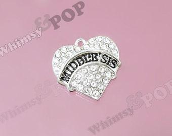 1 - Tibetan Silver Crystal Rhinestone Middle Sis Charm, Sister Heart Charm, Sister Charm, 20mm (R8-169)