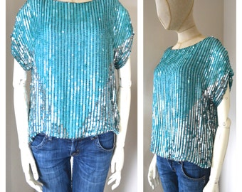 Vintage 1970s Silk and Sequins Top Light Blue and Silver Shiny Metallic Sequin Blouse Short Sleeves Glass Beading Intercontinental India S M