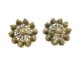 Norway Filigree Earrings. European 830 Silver & Gold Gilt. Screw Backs. Signed KIS or KJS. 1950s Vintage Nordic Folk Style Jewelry