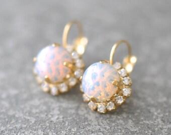 white Opal Rhinestone Earrings Vintage Glass Pink White Opal Textured Tennis Leverback Earrings Diamond Rhinestone Mashugana