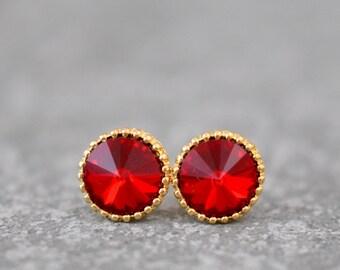 Red Earrings Organic Edge Swarovski Crystal Ruby Red Round Classic Bridal Earrings Red Bridesmaid Wedding  Mashugana