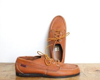 Vintage Sebago Campsides Shoes Womens US size 9 / 9.5 Shoes Brown Leather Lace Up Mocassins Boat Loafer Dock Docksiders Eastland