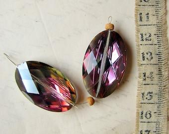 Huge Swarovski oval beads - AB Aurora Borealis vitrail with diamond facet cut and gorgeous depth - 32mm - 2 beads