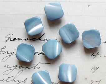 vintage mother of pearl buttons - pale blue squares with a pretty shimmer - Art Deco style - doll buttons - 10mm