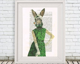 Glamour Rabbit Print, Fashion Victim, Vintage Rabbit, Bunny Print, Happy Wall Art, Gift for Her,Green,  Wall Art Prints, Rabbit Decor