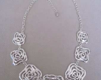 Silver Swirled Center Squared Component Necklace
