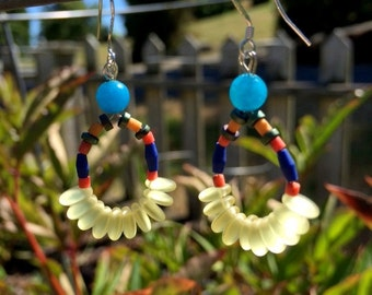 Yellow Glass and Blue Quartz Earrings
