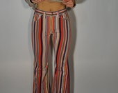 Vintage Stripes 60s 70s Denim Capris XS Boho Hippie Gypsy Club Kid Bohemian Mod Hipster Rodeo California Folk Mid Rise Jeans Festival Pants