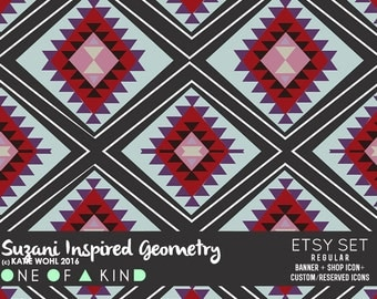 Suzani Inspired Geometry - etsy set