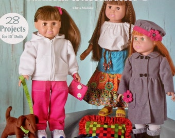 "Annies Sewing SEW TRENDY FASHIONS & Accessories By Chris Malone - 18"" Doll Clothes Pattern Booklet"