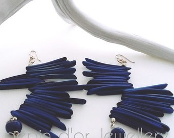 Tribal, Tribal Earrings,Blue, natural, earrings, Yellow, Red, Green, Bold Earrings, Long Earrings, Eco Earrings, beach jewelry, summer