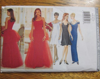 ELEGANT Princess Seamed Evening Gown or Flared Mini Dress with Tulle Bustle - Size (6 - 12) - UNCUT Sewing Pattern Butterick 4446