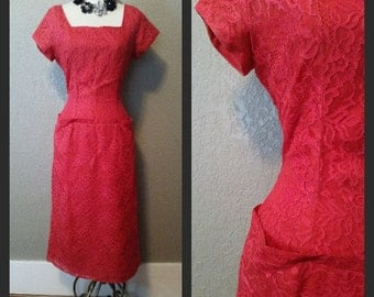 Vintage 1950's/60's red lace wiggle cocktail dress