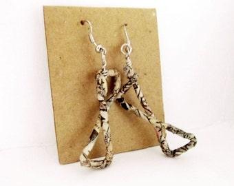 Bow earrings, paper earrings, wire wrapped earrings, geometric earrings, recycled paper, triangle jewelry, statement jewelry, boho earrings