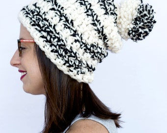 knit Winter, hat women, Pom Pom hat, Crochet hat, Knit hat, White hat, Slouchy hat, beanie, winter beanie (The Burlington Pom Pom hat)