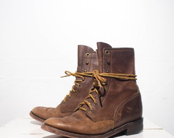 5 B | Nubuck Leather Justin Roper Boot Women's Brown Lace Up Western Ankle Boot