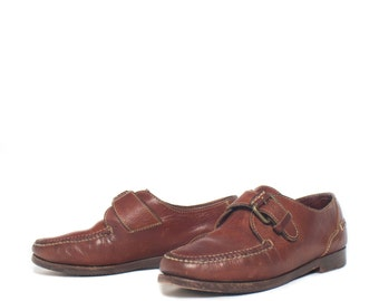 7.5 M | Women's Brown Leather Cole Haan Country Monk Strap Loafers