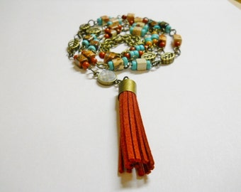 Leather Tassel Necklace, Handmade, square red agate, rust Czech round beads, turquoise hashi beads, brass leafs