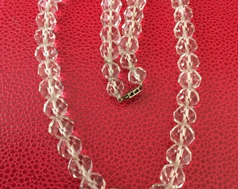 Clear Vintage White 10mm Round Crystal Bead Necklace