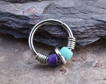 Tragus Earring Cartilage Hoop Earring Helix Hoop Earring Purple and Turquoise