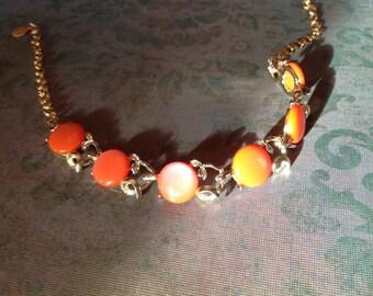 Vintage Lucite Link Necklace Mellon Color